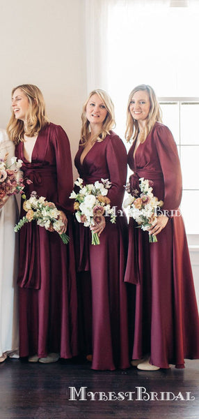 Charming Sexy V-neck Long Sleeves Elastic Silk Long Cheap Wedding Party Bridesmaid Dresses, BDS0001