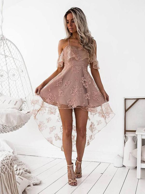 Off Shoulder High Low Dusty Pink Lace Homecoming Dresses 2018, BDY0235