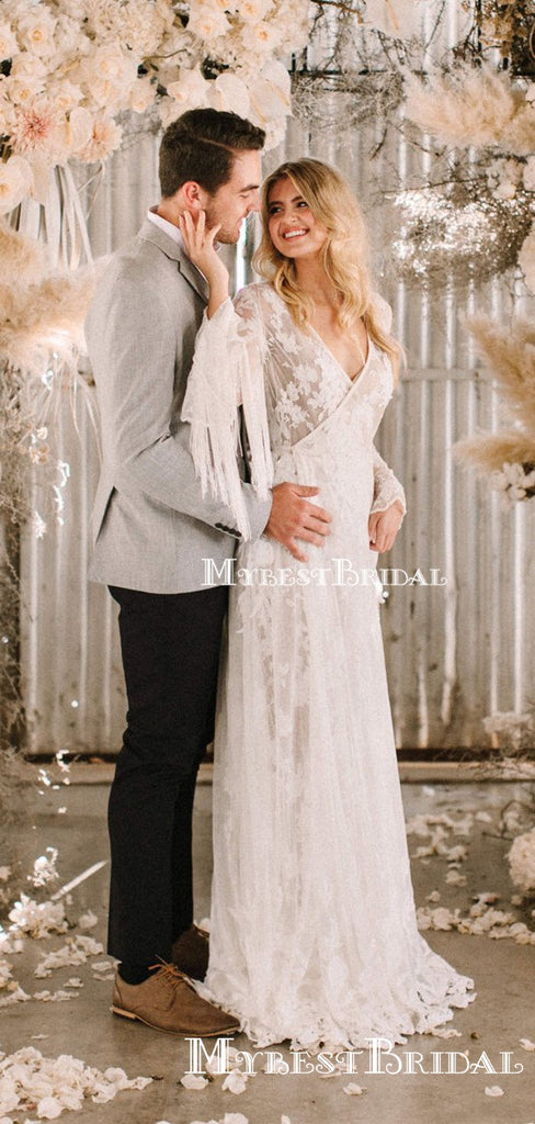 Charming Elegant New Arrival V-neck Long Sleeves Long Cheap A-line Lace Wedding Dresses, TYP0091