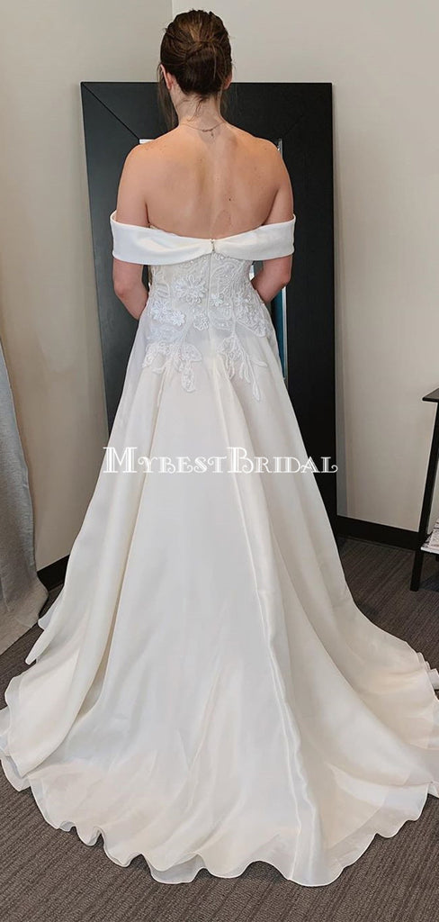 Off-The-Shoulder Lace Appliqued Satin A-line Long Cheap Wedding Dresses, WDS0060