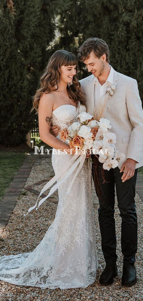 Charming Sweetheart Lace Mermaid Long Cheap Wedding Dresses, WDS0051