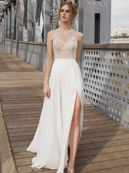 Beautiful White Side Split Prom Dress, Open Back Charming Bridesmaid Dresses, Cheap Simple Beach Wedding Dress, WDY0133