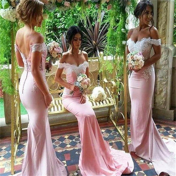 Popular Off Shoulder Mermaid Lace Bridesmaid Dress, Sexy Wedding Party Dress, WGY0129