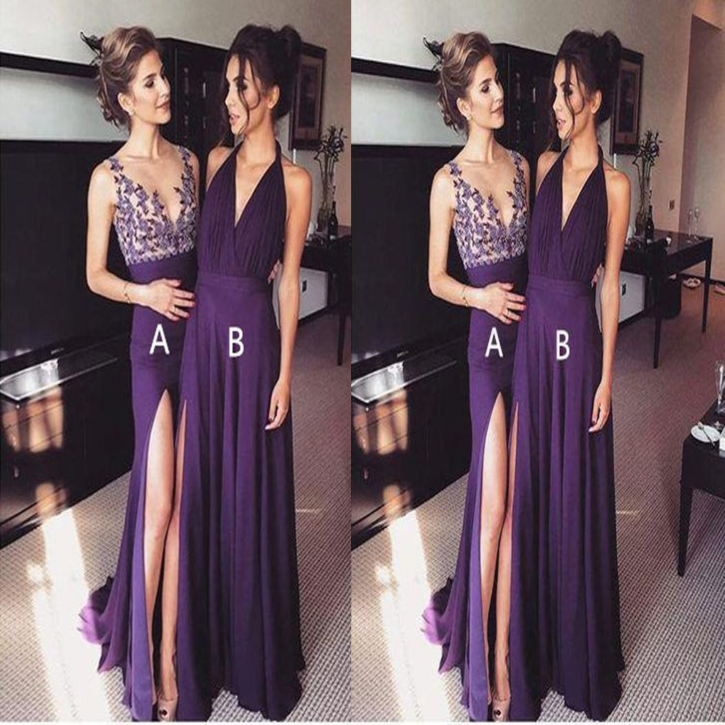 2021 Purple Chiffon Side Slit Long Evening Prom Dresses, bridesmaid dresses,Wedding Party Dresses,WGY0126