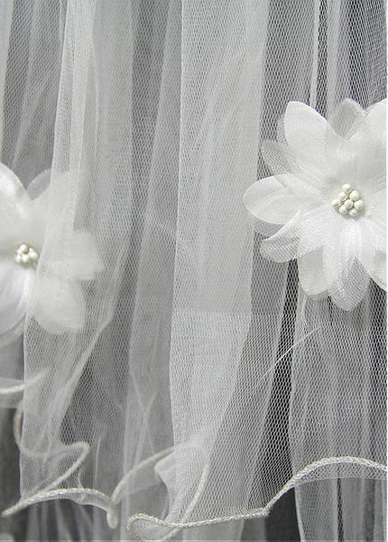 Gorgeous Tulle Four-tier Short Wedding Veil With Flowers,WV0128