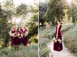 Simple Charming Burgundy Halter Sleeveless Chiffon Long Cheap Bridesmaid Dresses, TYP0075