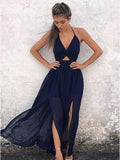 A-Line Halter Backless Navy-Blue Chiffon Prom Dresses ,Cheap Prom Dresses,PDY0431