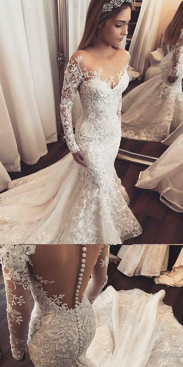 Mermaid Open Back White Lace Wedding Dresses Cheap Wedding Dresses