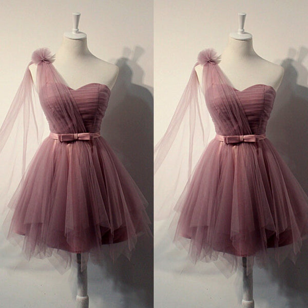 Charming One Shoulder Tulle Cute Short Prom Dress With Belt, Homecoming Dress,BDY0157