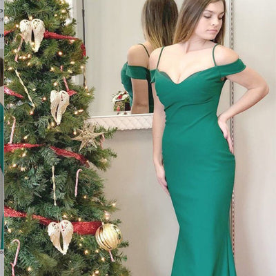 Elegant Green Off-The-Shoulder Spahgetti Straps Prom Dress , Cheap Prom Dresses. PDY0193
