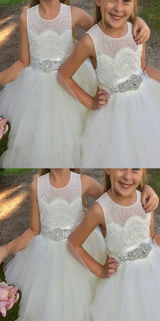 Tulle A-Line Ivory Flower Girl Dresses With Rhinestone Sash ,Cheap Flower Girl Dresses ,FGY0165