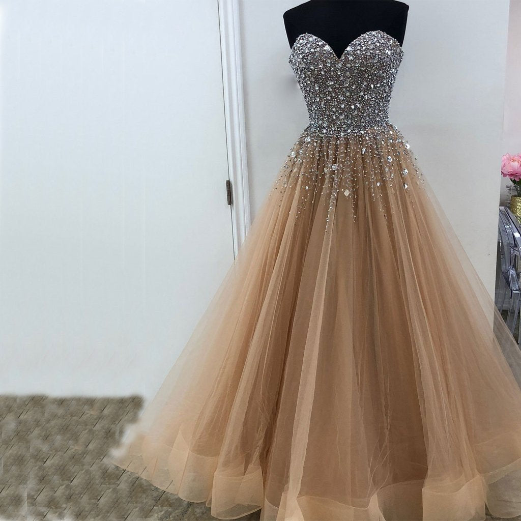 Heavy Beaded Sweetheart A Line  Long Prom Dresses  Evening  Gown  Formal  Dress. PDY0223