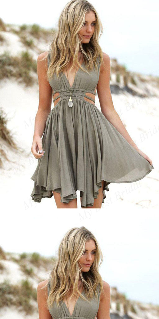 Simple V-neck Grey Chiffon Homecoming Dresses ,Short Prom Dresses,BDY0167