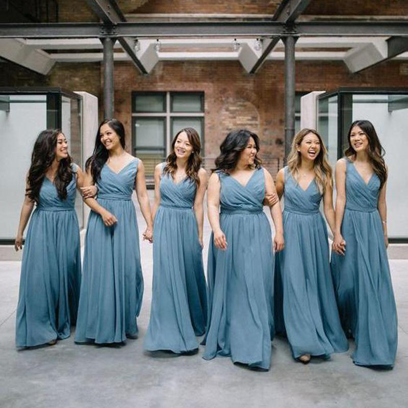 Chiffon V Neck Dusty Blue Long Cheap Bridesmaid Dresses Online, WGY0243