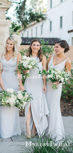 Mismatched Simple Dusty Blue Elastic Silk A-line Long Cheap Bridesmaid Dresses, BDS0078