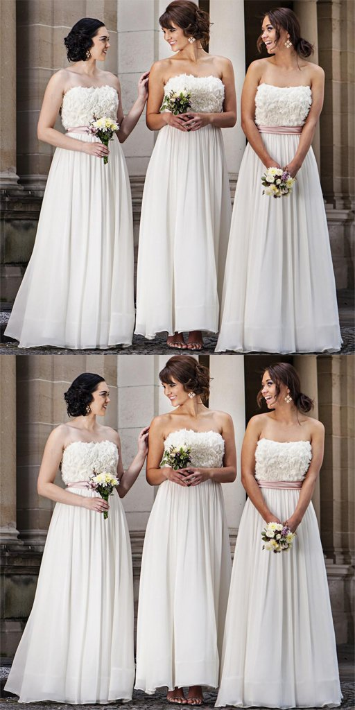 Elegant Ivory Straight Neckline Formal Cheap Long Bridesmaid Dresses,Bridesmaid Gown ,WGY0150