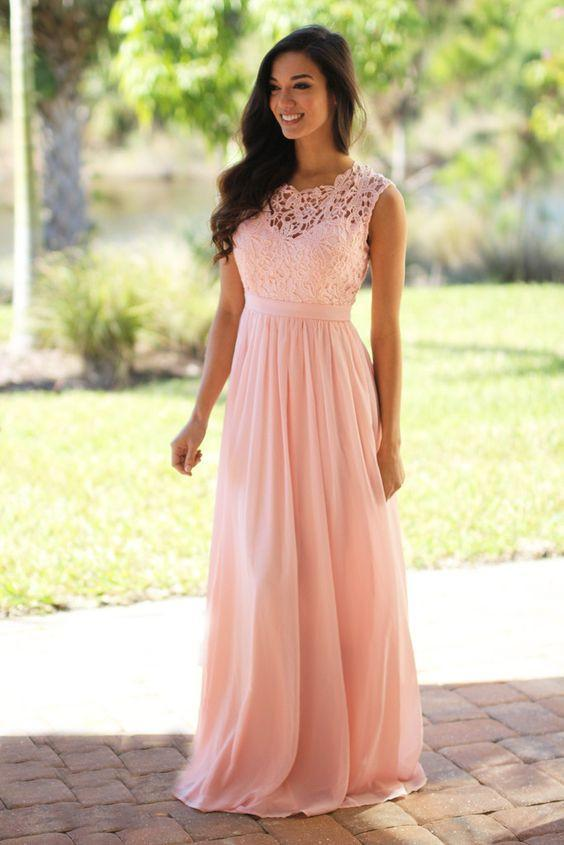 Elegant Lace Floor-Length Applique Blush Pink Long Formal Cheap Chiffon Bridesmaid Dresses, WGY0325