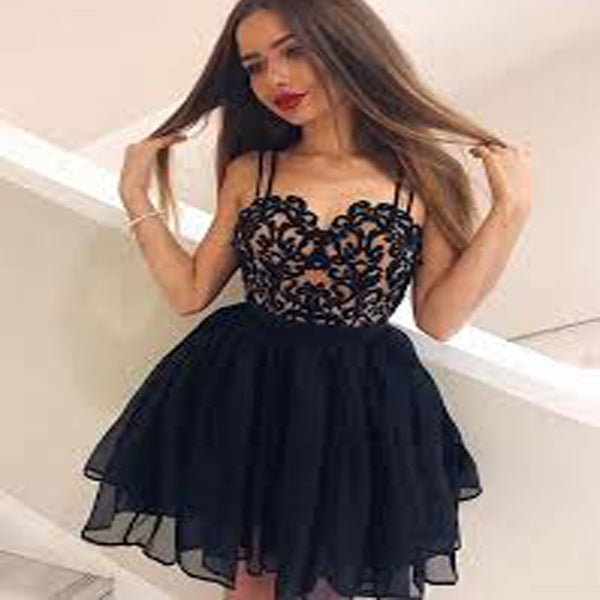 A-Line Spaghetti Straps Homecoming Dresses, Sweetheart Black Lace Homecoming Dresses,Short Prom Dresses,BDY0164