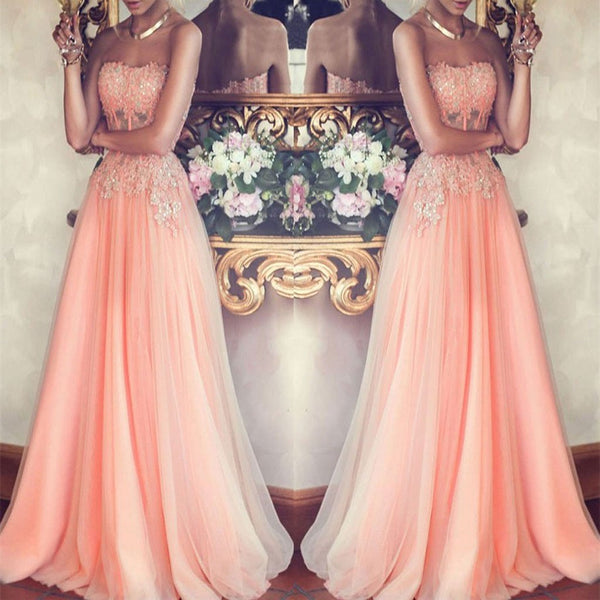 Charming Strapless Long Pink Beading Prom Dresses, Formal Evening Gowns,Evening Party Dresses,PDY0292