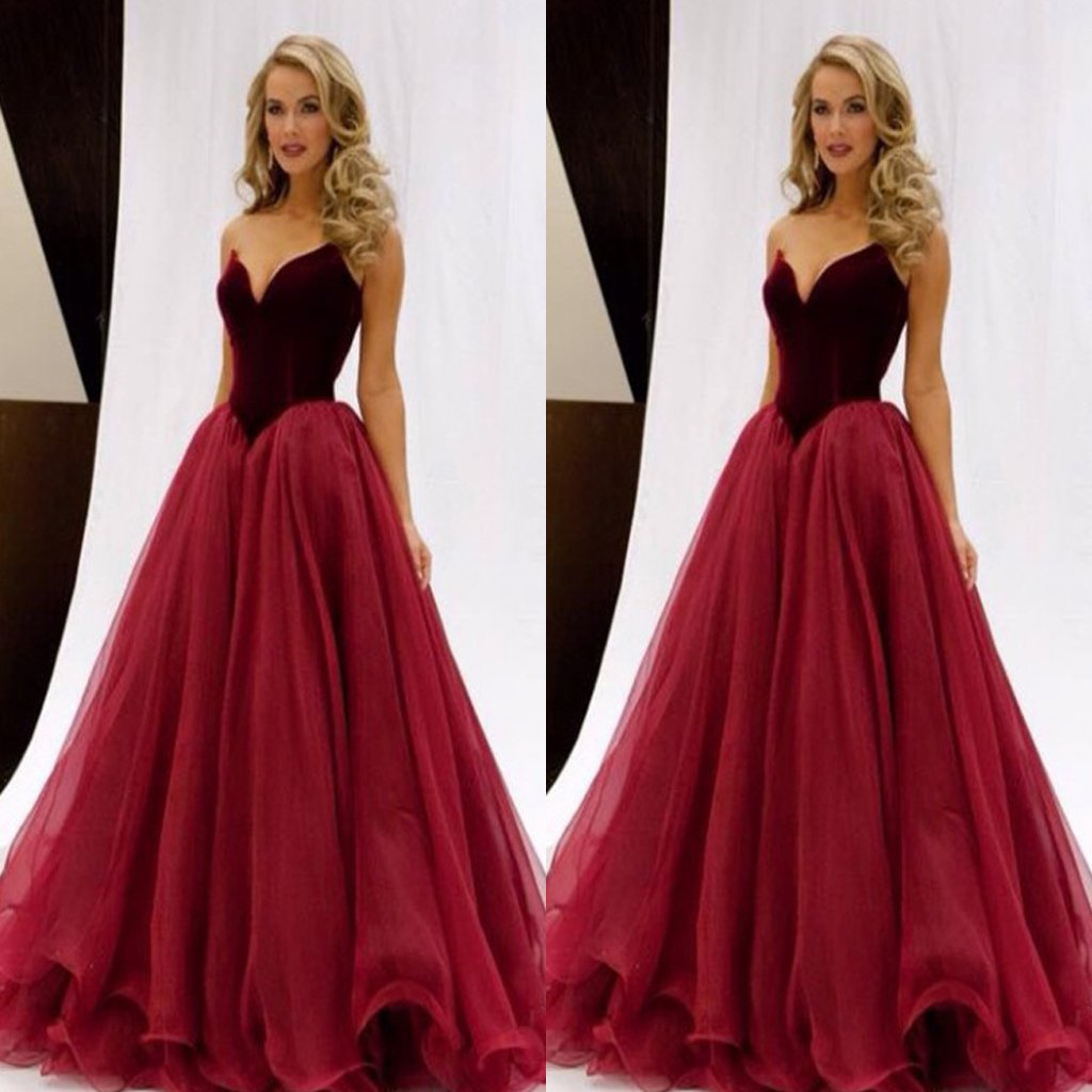 Fashion A-Line Long  Floor-Length Red Organza Sexy Prom Dress, Evening Dress,PDY0354