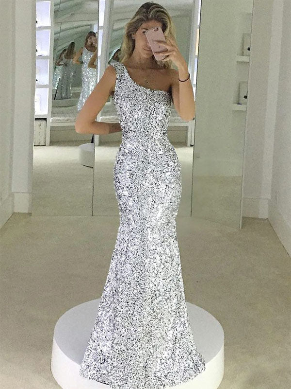 Mermaid One-Shoulder Floor-Length Silver Sequined Prom Dress,Evening Party Dresses PDY0218