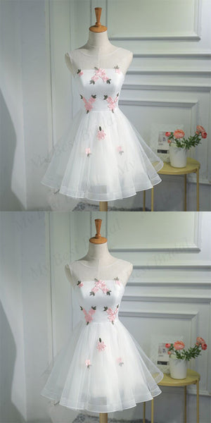 Cute A-line Organza White Sleeveless Lace-up Short Homecoming Dress ,BDY0162