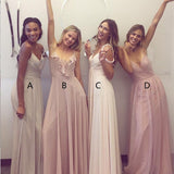 A-Line Spaghetti Straps Backless Ivory Chiffon Long Bridesmaid Dresses,Bridesmaid Gown ,WGY0154