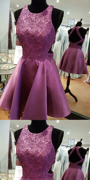 Stunning Purple Lace Applique Homecoming Dresses With Beading,Short Prom Dresses,BDY0166