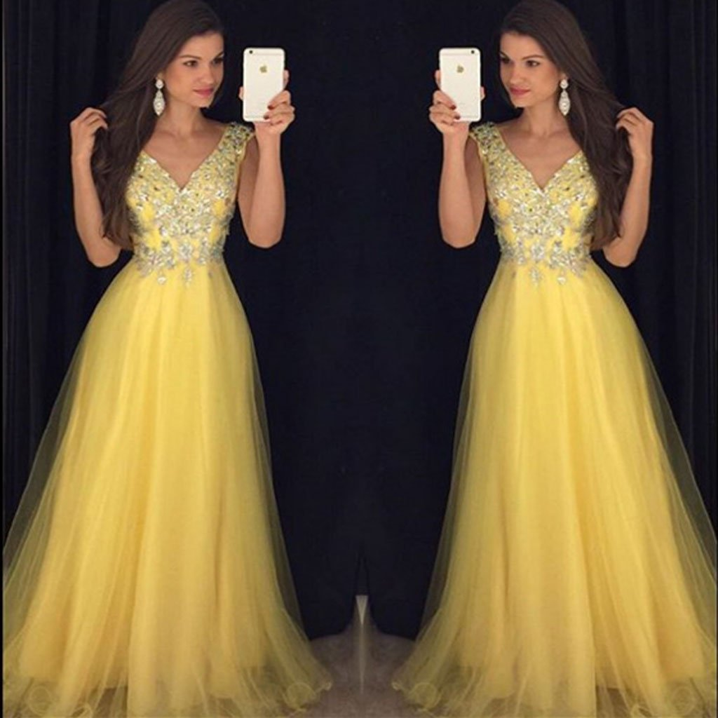 2019 Pretty Beading V Neck Long Yellow Prom Dresses, Formal Evening Gowns,Evening Party Dresses,PDY0291