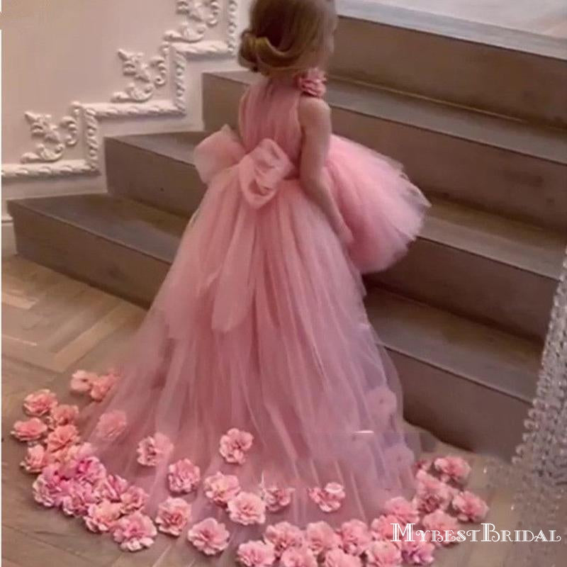 New Arrival High Neck Pink Tulle High Low Long Cheap Flower Girl Dresses, FGS0006