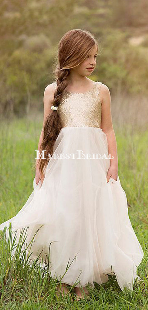Cheap White Chiffon &Gold Sequins Backless Spaghetti Little Girl Dresses,Flower Girl Dresses ,FGY0215