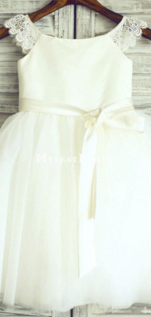 Ivory Lovely Tulle Cheap Flower Girl Dresses, Weding Little Girl Dresses, FGY0136