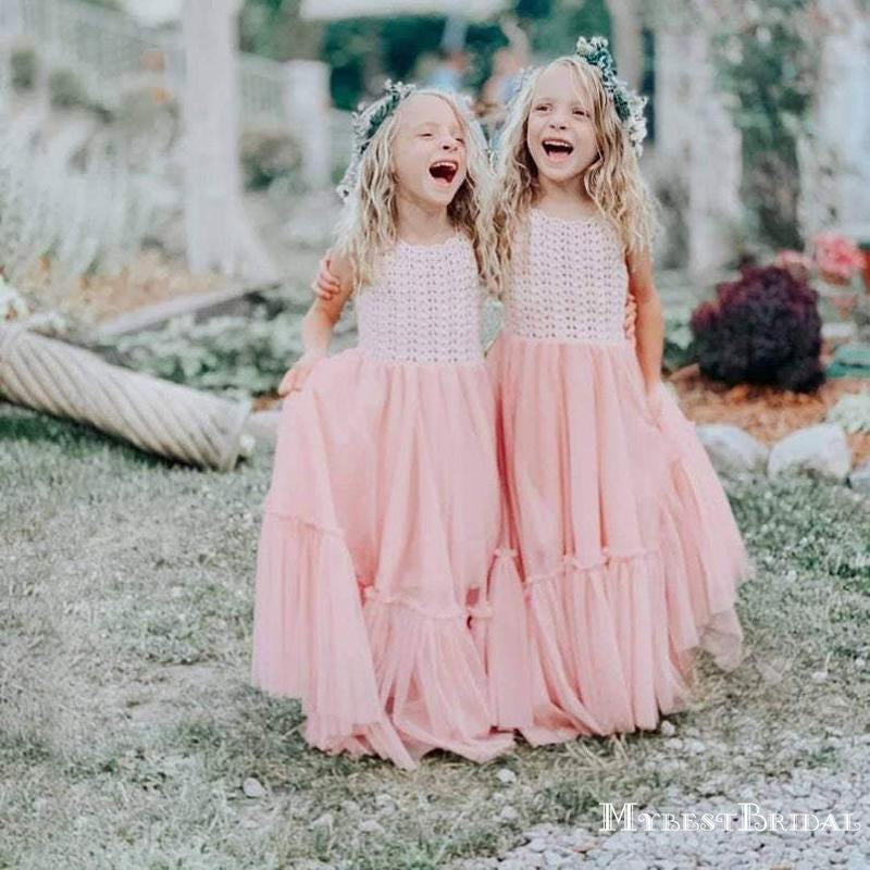Charming Round Neck Pink Tulle A-line Long Cheap Flower Girl Dresses, FGS0020