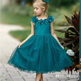 Cute Round Neck Teal Organza Teal-Length Cheap Flower Girl Dresses with Handmade Flowers, FGS0003