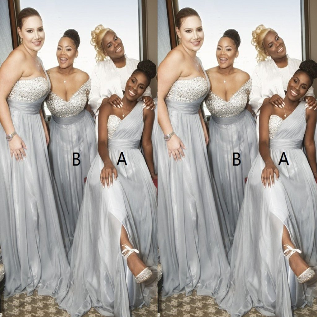 A-Line One Shoulder Grey Chiffon Sequins Split Bridesmaid Dresses,Wedding Party Dresses,WGY0182