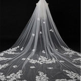 Graceful Tulle Long  Wedding Veil With Lace Appliques, WV0116