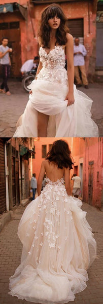 A-line Backless Brush Train Tulle Long Wedding Dresses, Cheap Wedding Dresses, WDY0165