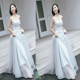 Elegant Gray Blue Strapless Tulle Long Evening Gowns,Prom Dresses,Party Dresses,PDY0346
