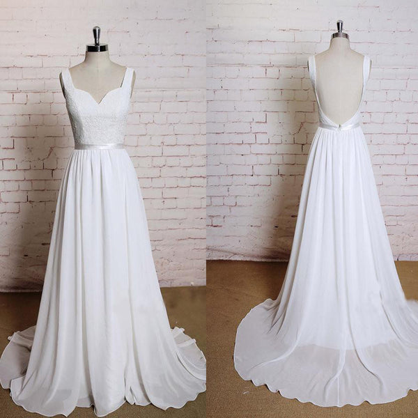 Beautiful High Waist White Lace Long A-line Wedding Party Dresses, Chiffon Bridal Gown, WDY0106