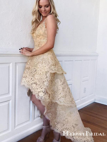 Charming Gold Lace V-neck High-low Short Homecoming Dresses, TYP0047