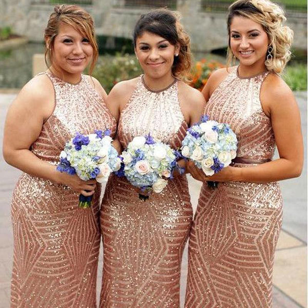 Gold Sequin Mermaid Halter Cheap Long Bridesmaid Dresses Online, WGY0228