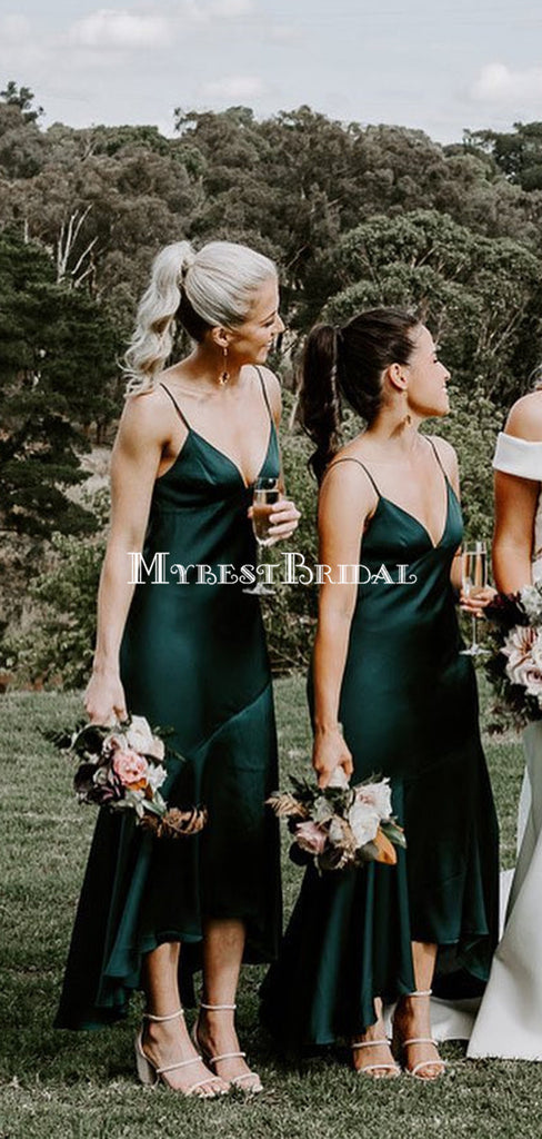 Simple Spaghetti Strap Green Elestic Silk Long Cheap Bridesmaid Dresses, BDS0125