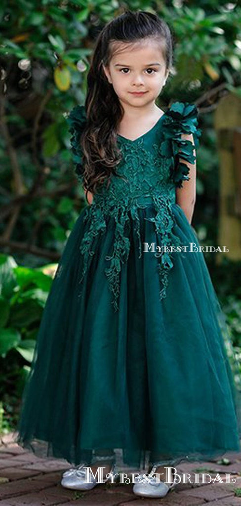 Charming V-neck Green Tulle Lace Appliqued A-line Long Cheap Flower Girl Dresses, FGS0007