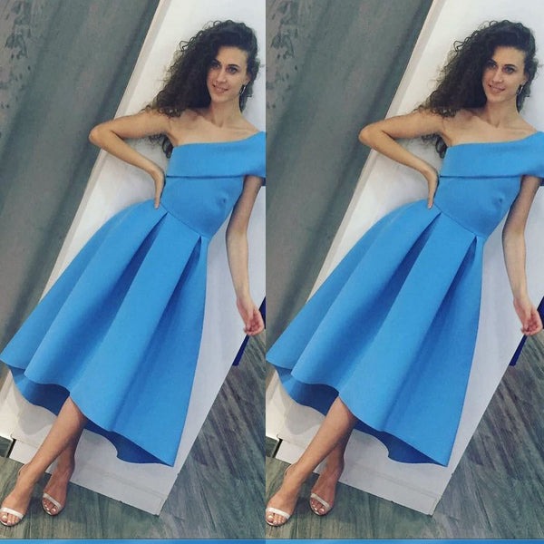 Tea Length Blue One Shoulder Prom Dresses,Formal Occasion Dress,New Evening Dress,PDY0301