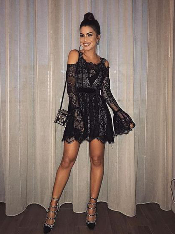 Long Sleeve Black Lace A-line Short Homecoming Dresses, HDS0040