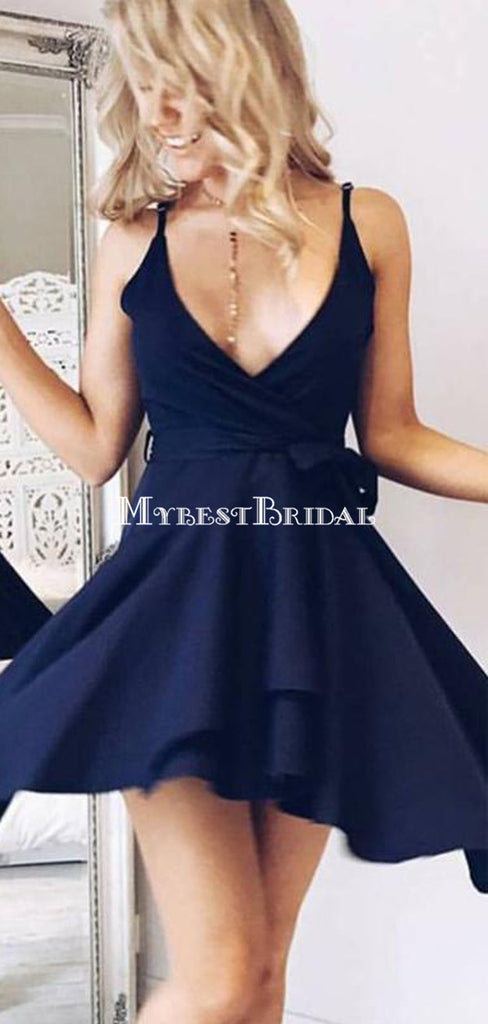 A-Line V-Neck Navy Blue Homecoming Dress with Sash ,Short Prom Dresses,BDY0346