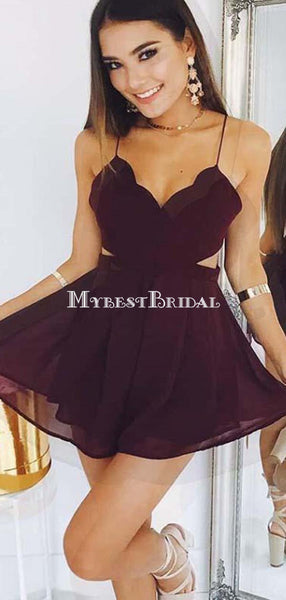 A-Line Spaghetti Straps Burgundy Chiffon Homecoming Dresses,Short Prom Dresses,BDY0357
