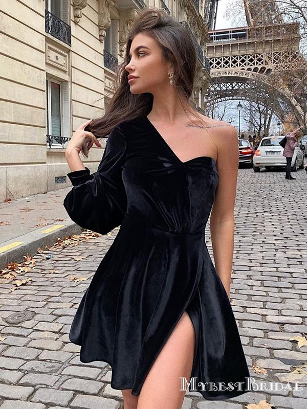 Black One-Shoulder Long Sleeve Velvet Short Cheap Homecoming Dresses, HDS0024