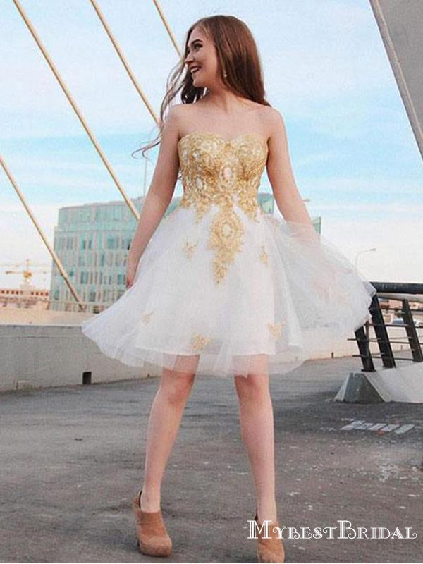 Sweetheart Ivory Tulle With Gold Applique A-line Short Cheap Homecoming Dresses, HDS0029