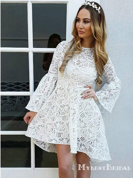 Long Sleeves Ivory Lace High-low A-line Short Cheap Homecoming Dresses, HDS0028